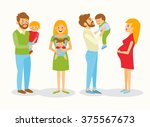 the mother holds the baby in a... | Shutterstock .eps vector #375567673