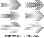 dotted and striped arrow set .... | Shutterstock .eps vector #375580033