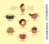 happy fast food with hands and...   Shutterstock . vector #375589393