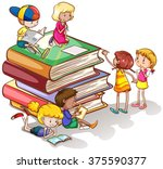 kids reading books together... | Shutterstock .eps vector #375590377