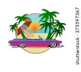 vector car cadillac with palms  ... | Shutterstock .eps vector #375597367