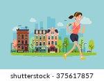 city run. lovely vector flat... | Shutterstock .eps vector #375617857