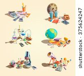 science retro concept set with... | Shutterstock .eps vector #375624247