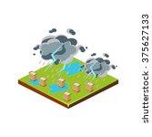 thunderstorm. natural disaster... | Shutterstock .eps vector #375627133