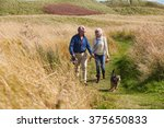 Stock photo senior couple taking dog for walk in countryside 375650833