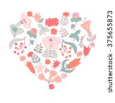 vector heart made of tropical... | Shutterstock .eps vector #375655873