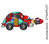 rocket car with side rocket red ...   Shutterstock .eps vector #375699157