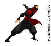 samurai ninja stance ready to...   Shutterstock .eps vector #375705703