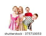 group of little children having ... | Shutterstock . vector #375710053