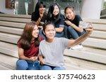 group of happy teen high school ... | Shutterstock . vector #375740623