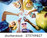 beach cheers celebration... | Shutterstock . vector #375749827