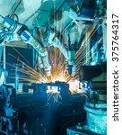 welding robots movement in a... | Shutterstock . vector #375764317