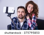happy young beautiful couple... | Shutterstock . vector #375795853