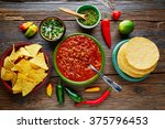 chili with meat platillo... | Shutterstock . vector #375796453