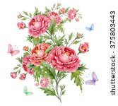 watercolor rose bouquet with... | Shutterstock . vector #375803443