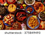 tapas from spain varied mix of... | Shutterstock . vector #375849493