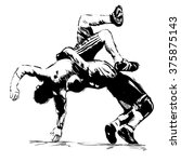 sketch of greek roman wrestling | Shutterstock .eps vector #375875143