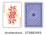 playing cards with the joker... | Shutterstock .eps vector #375882493