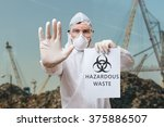 technician in coverall warns in ... | Shutterstock . vector #375886507