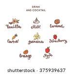 set of vector dessert and drink ... | Shutterstock .eps vector #375939637