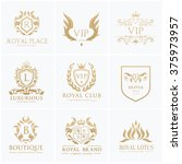 luxury gold crest logo... | Shutterstock .eps vector #375973957