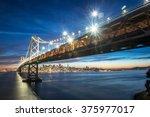 beautiful momoent of bay bridge ... | Shutterstock . vector #375977017