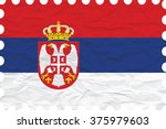 wrinkled paper serbia stamp ... | Shutterstock .eps vector #375979603