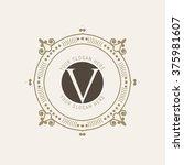the letter v. flourishes... | Shutterstock .eps vector #375981607