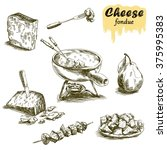 cheese fondue sketches | Shutterstock .eps vector #375995383