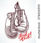 just start. sketch boxing... | Shutterstock .eps vector #376010593