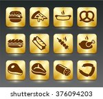 food meat and junk food on gold ... | Shutterstock .eps vector #376094203