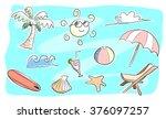 beach theme doodle set  a hand...   Shutterstock .eps vector #376097257