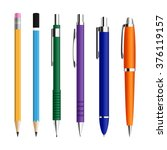 set of pens and pensils... | Shutterstock .eps vector #376119157