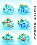 vector image of tropical images ... | Shutterstock .eps vector #37615915