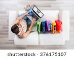 high angle view of young woman... | Shutterstock . vector #376175107