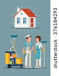 clean house vector concept... | Shutterstock .eps vector #376184293