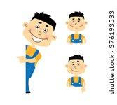 set of cartoon vector mechanic... | Shutterstock .eps vector #376193533