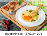 fresh clear soup with carrot... | Shutterstock . vector #376194103