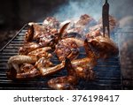 grilling spiced chicken in grid ... | Shutterstock . vector #376198417
