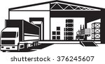 truck loaded goods in warehouse ... | Shutterstock .eps vector #376245607
