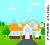 background of house with... | Shutterstock .eps vector #376255387