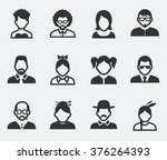 people face set on pale... | Shutterstock .eps vector #376264393