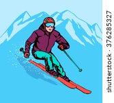 skier down of mountain. speed... | Shutterstock .eps vector #376285327