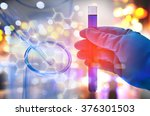 double exposure of scientist... | Shutterstock . vector #376301503