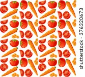 pattern with carrot and tomato... | Shutterstock .eps vector #376320673