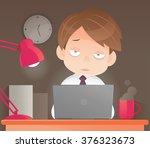 businessman working overtime... | Shutterstock .eps vector #376323673