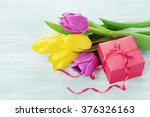 Spring Flowers And Gift Box...