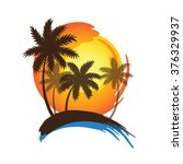 tropical palm trees silhouettes ... | Shutterstock .eps vector #376329937