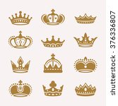 set of gold royal crowns... | Shutterstock .eps vector #376336807