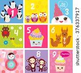 happy birthday card design with ... | Shutterstock .eps vector #376337917